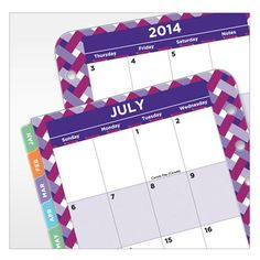 Compact RetroPop Ring-bound Daily Planner Refill - Jul 2014 - Jun 2015