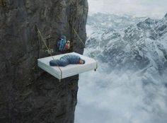 """How did the bed get up the mountain?  Gives new meaning to the phrase """"waking up on the wrong side of the bed"""""""