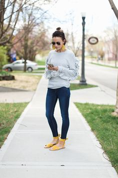Trends I'm Loving This Spring - Yellow - ONE little MOMMA. LEATHER EARRINGS, DARK DENIM, FEATURED, SPRING TRENDS, SWEATSHIRT, YELLOW, YELLOW SHOES