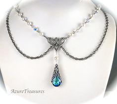 Bermuda Blue Crystal Necklace, Victorian Swag Bib Pearl Necklace  Antiqued Silver Vintage Style Bridal Statement Wedding Jewelry. $58.00, via Etsy.