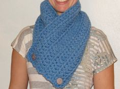 Chunky Crochet Cowl Neck Warmer Scarf with Buttons - Sky Blue