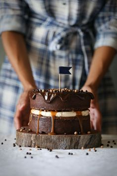 Peanut Butter Brownie Salted Caramel Crunch Cake | The Polka Dotter