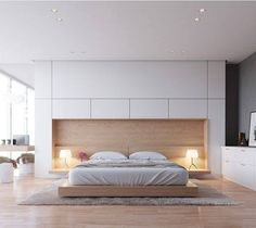 beautiful modern bedroom. Own Your Morning // City Suite Urban Living Metropolitan Lifestyle Loft Interior Bedroom Home Decor Wall Art Beautiful Modern