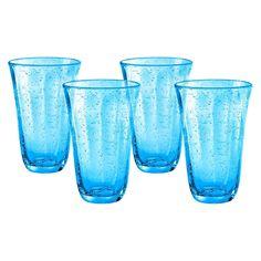 Artland Savannah Highball Glass Set of 4, Blue/Green