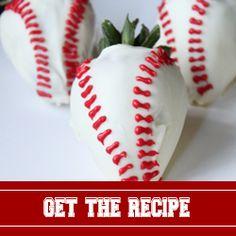 White chocolate covered strawberry baseballs!