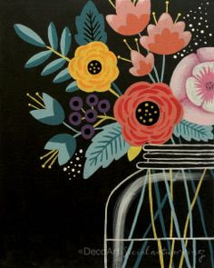 """Social Artworking Canvas Painting Design - Modern Bouquet This modern take on a floral has us captivated with its deep colors against a black background. The flowers are more stylized, making them able to fit right in to almost any decor. Simply change out the colors to suit the season or your tastes. CANVAS SIZE:  16"""" x 20"""" TIME TO PAINT:  approximately 3 hours"""