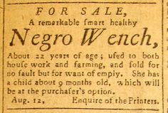 1797, Advertisement for the sale of a slave :: Historic Huguenot Street