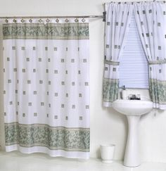 Windsor Jade Green Fabric Shower Curtain W Available Matching Window