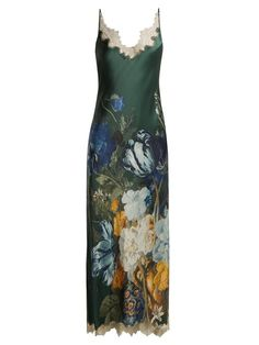 Carine Gilson Lace-trimmed floral-print maxi dress Floral Print Maxi Dress cdc5634e9