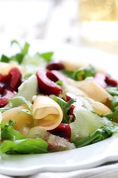 Shaved Melon Cherry Arugula Salad via Bakers Royale