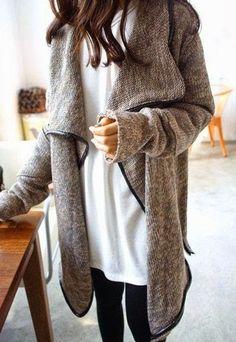 #fall #fashion / oversized gray knit