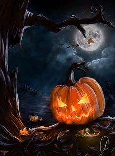 Happy Halloween Gif, Halloween Kunst, Happy Halloween Pictures, Fröhliches Halloween, Image Halloween, Halloween Artwork, Halloween Painting, Halloween Images, Halloween Prints