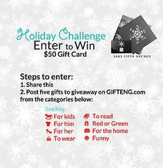 """Check out """"Enter to win a $50 Gift Card to Saks"""" free gift @Gifteng ♥ www.gifteng.com"""