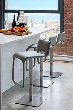 Azure Brushed Steel Hydraulic Bar Stool - Light Grey by Mobital on @HauteLook