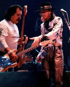 Stevie and his guitar tech, Rene Martinez