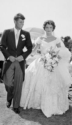 Jacqueline Kennedy OnassisYear: 1953 Dress: Ann Lowe Spouse: John F. Kennedy #jayfederjewelers