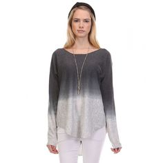 OMBRE LIGHTWEIGHT KNIT PULLOVER SWEATER - CHARCOAL