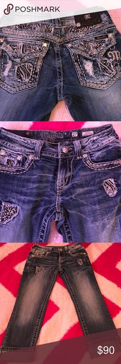 Miss Me cuffed capri.  TRADE?? Size 27 cuffed Miss Me Capri jeans! Only wore once, too small for me ;(.   *Willing to trade for Miss Me size 28 or 29 Miss Me Pants Capris