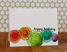 Happy Birthday circles using Papertrey Ink Cicles Scribbles and Copics. For the current Online Card Class - Clean & Simple Cards