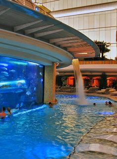The Best Water Slides in Vegas - Golden Nugget, slide goes through the shark tank and is three stories high! Vacation Destinations, Dream Vacations, Vacation Spots, Travel Around The World, Around The Worlds, Places To Travel, Places To Visit, Las Vegas, Water Slides
