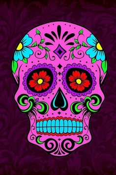 ThisnThat Sugar Skull Wallpaper, Sugar Skull Artwork, Sugar Skull Painting, Mexican Skulls, Mexican Art, Caveira Mexicana Tattoo, Sugar Scull, Skull Pictures, Day Of The Dead Skull