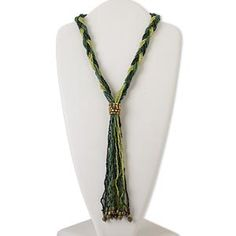 Necklace, multi-strand, antiqued gold-finished steel and glass, multi-green rainbow, 9-inch dangle, 19-inch braid with 2-inch extender chain and lobster claw clasp. Sold individually.