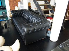 1960's black leather chesterfield sofa couch image 2