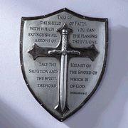 Decorative Armor of God Ephesians Wall Plaque: Armor of God wall plaque. Displays Ephesians Made of resin/stone mix. Armor Of God Tattoo, Shield Tattoo, Norse Tattoo, Viking Tattoos, Christus Tattoo, Helmet Of Salvation, 5 Solas, Shield Of Faith, God Tattoos