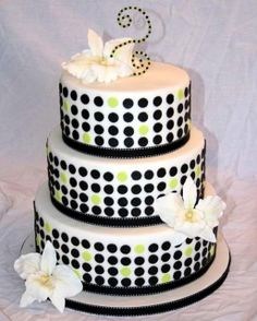 Retro Dots Cake with sugar orchids