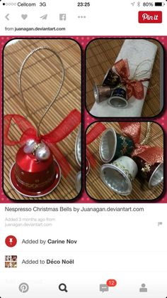 Nespresso Christmas Bells by Juanagan on DeviantArt How To Make Christmas Tree, Christmas Bells, Christmas Time, Christmas Ornaments, Christmas Angels, K Cup Crafts, Christmas Projects, Holiday Crafts, Navidad Diy