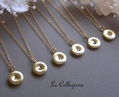 Six Custom Monogram Locket NecklacesGold Filled by lecollezione, $215.70