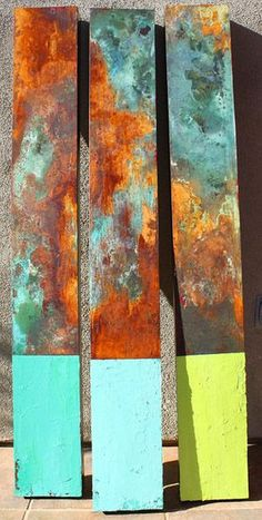 Willie Little, Abstract Triptych 6010. Rust Painting.