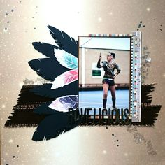 This scrapbook lay out shows a dance inspired by Ravens. Therefore the feathers 😁 Raven Color, Lay Outs, Color Guard, Ravens, Feathers, Polaroid Film, Scrapbook, Dance, Inspired