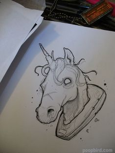 unicorn line drawing by poopbird on DeviantArt Unicorn Sketch, Unicorn Drawing, Drawing Heads, Line Drawing, Unicorn Tattoos, Unicorn Head, Head Tattoos, Shutter Speed, Fantasy Creatures