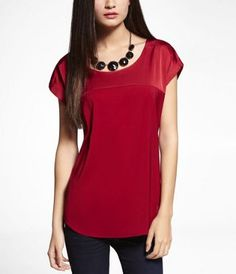 CONTRAST FABRIC SHORT SLEEVE EASY TOP at Express; This top is so comfy and beautiful, while still being professional.