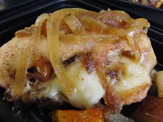 Chicken stuffed with brie and caramelized onions