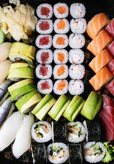 of sushi as background by Natasha Breen on Cute Food, I Love Food, Good Food, Yummy Food, Sushi Love, Sushi Set, Sushi Recipes, Asian Recipes, Healthy Snacks