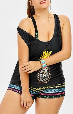 Pineapple Print Padded Bra Plus Size Bathing Suit