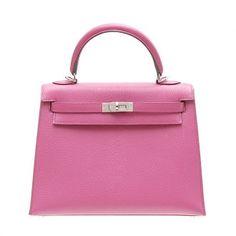 Hermes Kelly Bag 25 Sellier Rose Shocking Hot Pink Chevre Goatsk Hermes  Birkin 99872bba42cd1