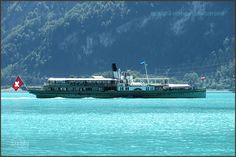 """Paddle steamer """"Lötschberg"""" on Lake Brienz. Bateau à vapeur """"Lötschberg"""" sur le lac de Brienz. Battello a vapore """"Lötschberg"""" sul lago di Brienz Barco vapor """"Lötschberg"""" en el lago Brienz Steamer, Homeland, Paddle, Switzerland, River, Outdoor, Beautiful, Lakes, Steam Boats"""
