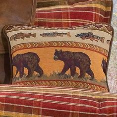 Victor Mill Montana Morning Square Pillow - Bear