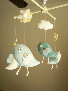 """Baby crib mobile, Bird mobile, felt mobile, nursery mobile, baby mobile """"Bird - baby blue"""" on Etsy, $89.45 AUD"""