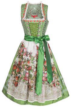 Midi Dirndl Tramontana grün ländlich petticoat spitze glänzend | trachtenshop.de Oktoberfest outfit dress