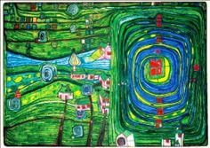 It's a thankless task choosing one single image to represent architect, painter and philosopher Friedensreich Hundertwasser. An incredible thinker and talent, look up his architectural work. Friedensreich Hundertwasser, Art And Illustration, Modern Art, Contemporary Art, Art Et Architecture, Art Ancien, Art Database, Pop Art, Art Abstrait