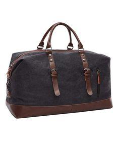 40L Oversized Canvas Trim Travel Tote Duffel Satchel Shoulder Handbag  Weekend Gym Bag - Black - CO12OB9AALV e757741556a2c