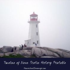 FREE Timeline of Nova Scotia History. Almost entirely surrounded by the sea, Nova Scotia is a haven for beach-loving tourists who come for the moderate temperatures, canoeing, sailing, hiking and whale watching. Enjoy this free Canadian history prin Canadian History, American History, Teaching Geography, Homeschool Curriculum, Homeschooling, Event Organization, Whale Watching, Nova Scotia, Writing Prompts
