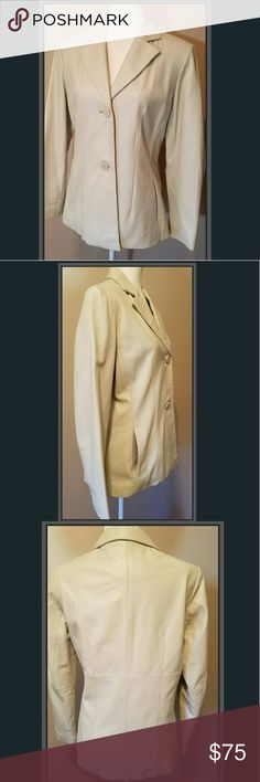 🍁 Wilson Genuine Leather Jacket Stylish Leather jacket Color : cream Size : Medium 3 button front Two side pockets Lined Preowned Good condition  gentle use/wear  *See pics for sizing Wilsons Leather Jackets & Coats