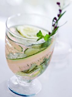 """""""Summer's Splendor"""" Spa Water ~ several handfuls of fresh basil leaves, peel and then thinly slice one English cucumber and add it to the basil. Then take 1 or 2 lemons, wash really well, thinly slice, and add to the mix."""