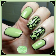 13 Days of January Nail Art Challenge: Green Base - Framed Mosaic   Pointless Cafe