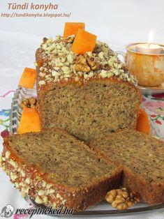 Sütőtökös-diós sütemény Poppy Cake, Meatloaf, Muffin, Banana Bread, Homemade, Healthy, Dios, Kuchen, Home Made